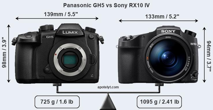 Panasonic GH5 and Sony RX10 IV sensor measures