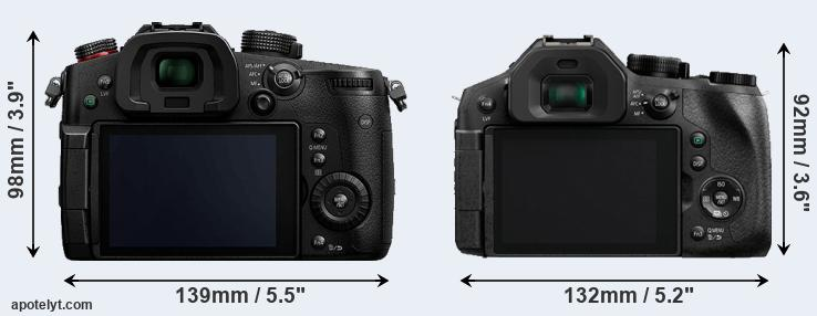 GH5s and FZ300 rear side