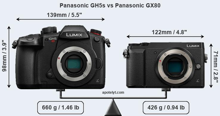 Size Panasonic GH5s vs Panasonic GX80