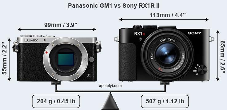 Size Panasonic GM1 vs Sony RX1R II