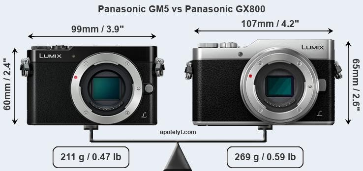 Size Panasonic GM5 vs Panasonic GX800