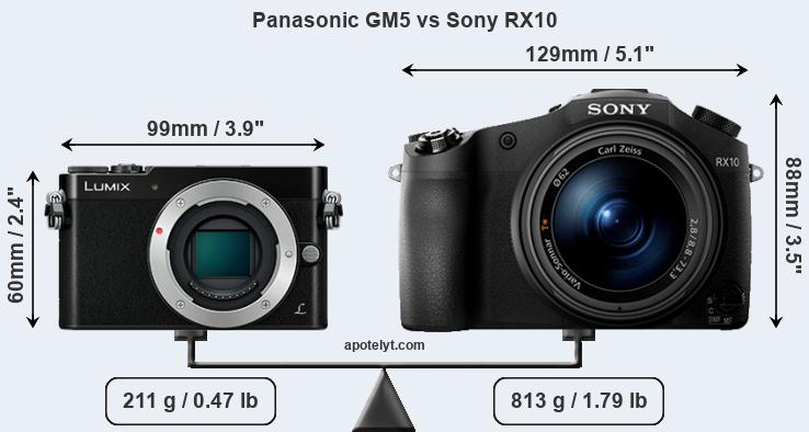 Size Panasonic GM5 vs Sony RX10