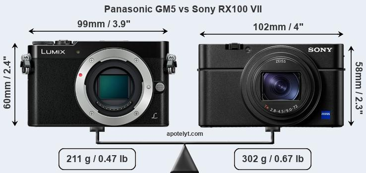 Size Panasonic GM5 vs Sony RX100 VII