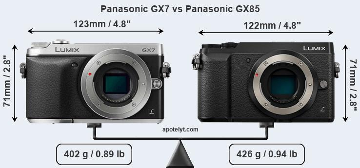 Size Panasonic GX7 vs Panasonic GX85