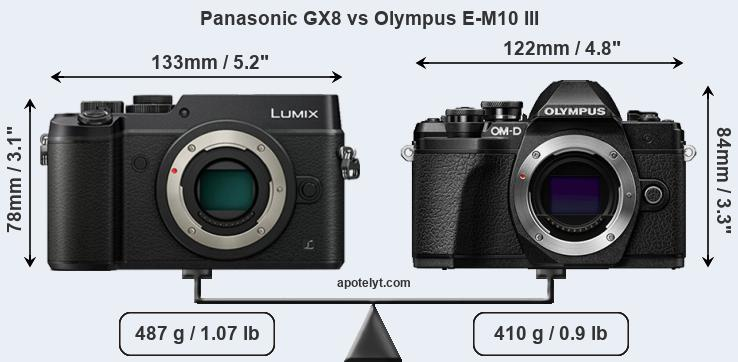 Panasonic GX8 and Olympus E-M10 III sensor measures
