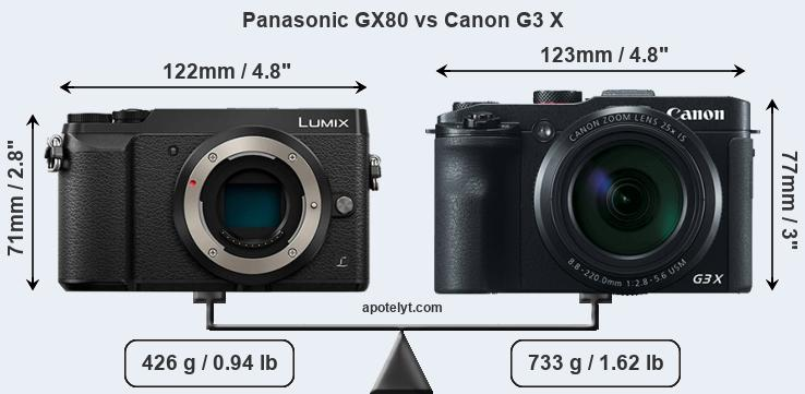 Compare Panasonic GX80 vs Canon G3 X