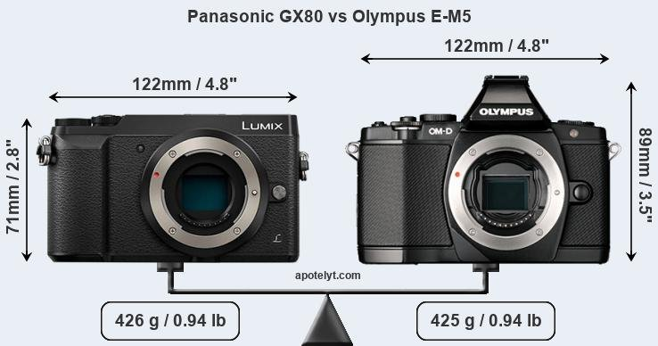 Compare Panasonic GX80 vs Olympus E-M5