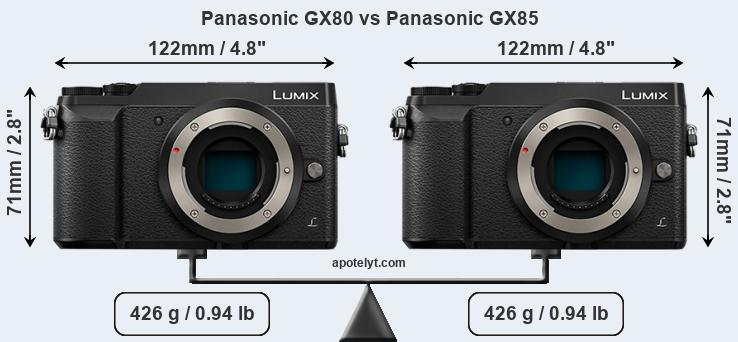Size Panasonic GX80 vs Panasonic GX85