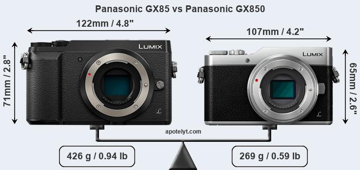 Size Panasonic GX85 vs Panasonic GX850