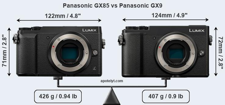 Size Panasonic GX85 vs Panasonic GX9
