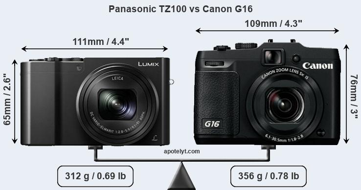 Compare Panasonic TZ100 vs Canon G16
