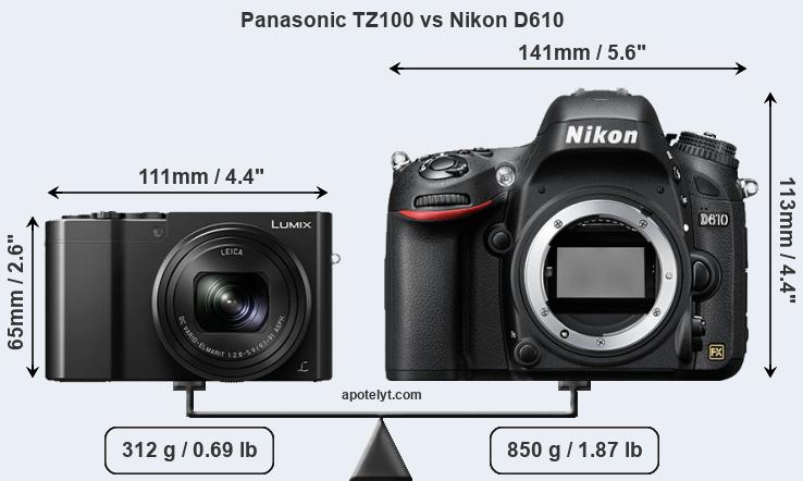 Compare Panasonic TZ100 vs Nikon D610