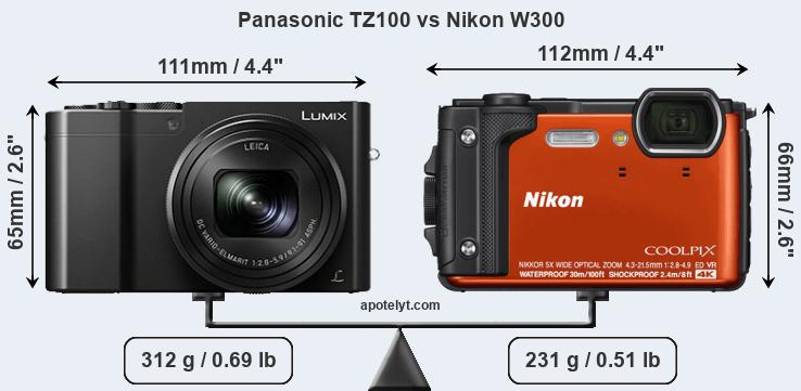 Compare Panasonic TZ100 and Nikon W300