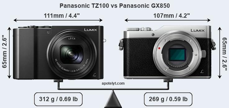 Panasonic TZ100 vs Panasonic GX850 front