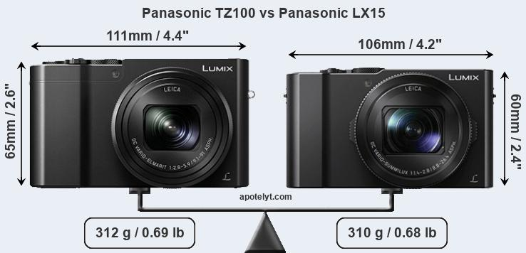 Compare Panasonic TZ100 vs Panasonic LX15