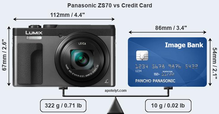 Panasonic ZS70 vs credit card front