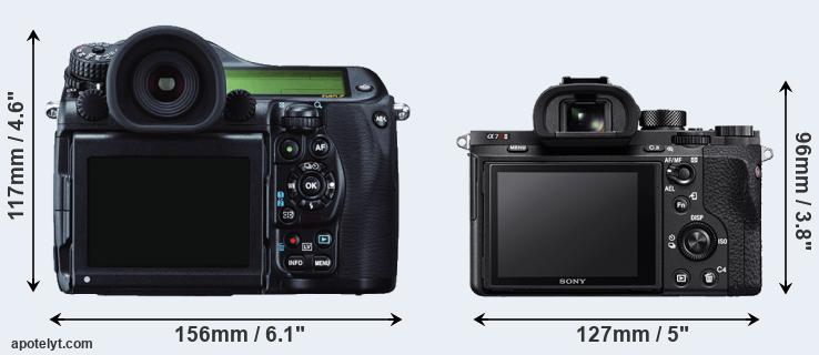 645Z and A7R II rear side
