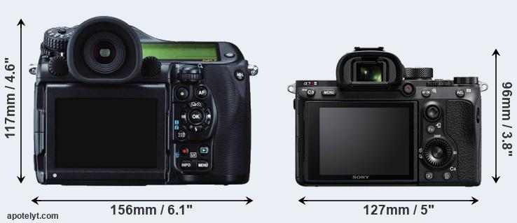 645Z and A7R III rear side