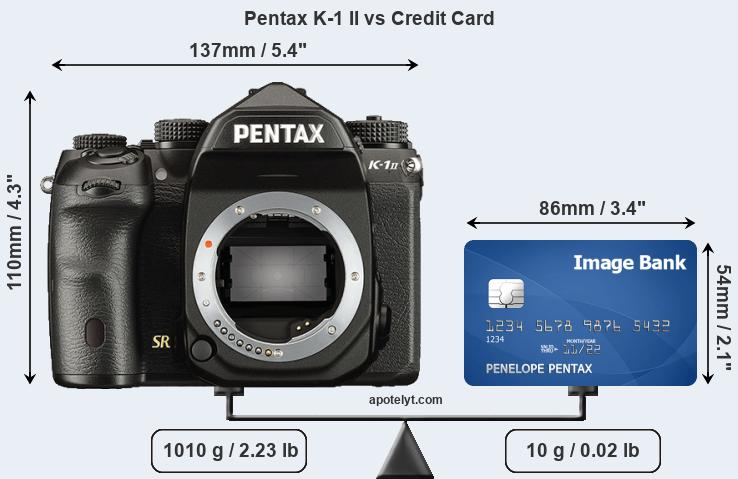 Pentax K-1 II vs credit card front