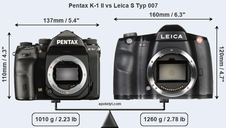 Compare Pentax K-1 II and Leica S Typ 007