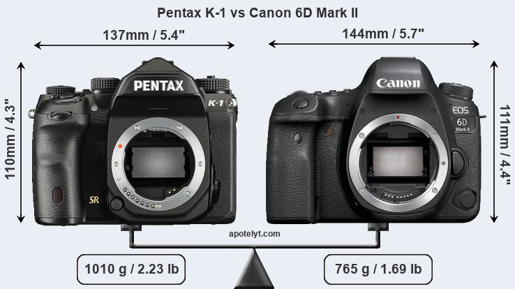 Pentax K-1 vs Canon 6D Mark II front