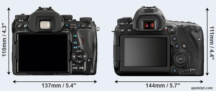 K-1 and 6D Mark II rear side