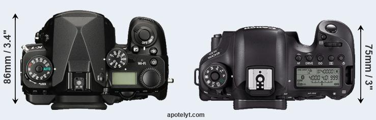 K-1 versus 6D Mark II top view