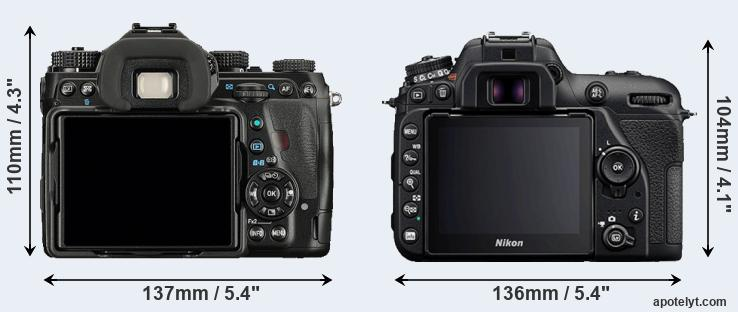 K-1 and D7500 rear side