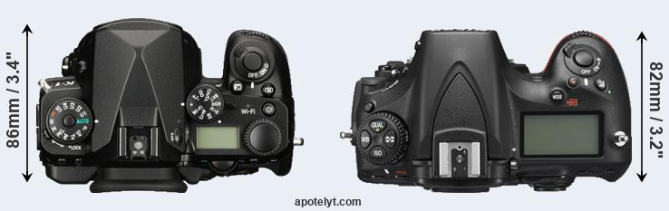 K-1 versus D810 top view
