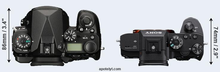 K-1 versus A7R III top view