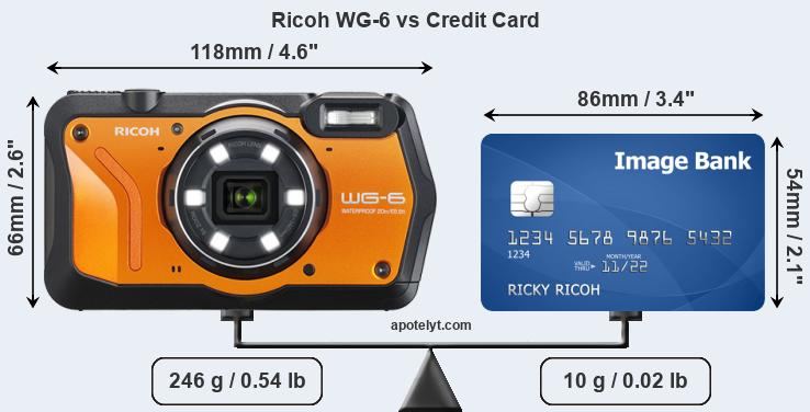 Ricoh WG-6 vs credit card front