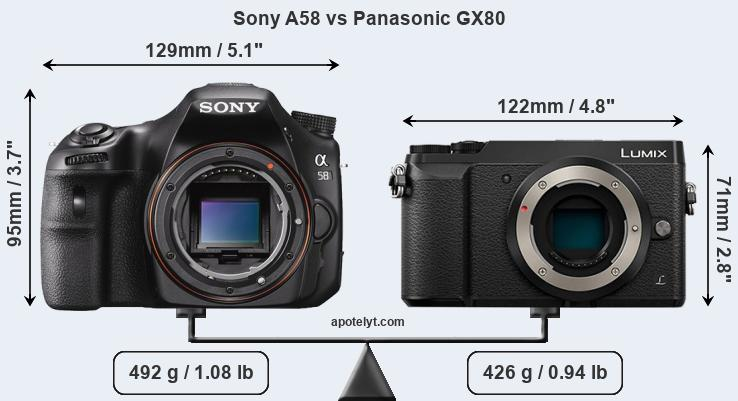 Compare Sony A58 vs Panasonic GX80