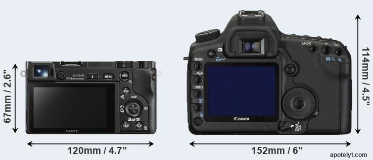 A6000 and 5D Mark II rear side