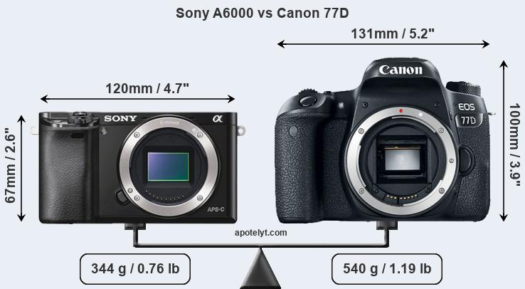 Compare Sony A6000 vs Canon 77D