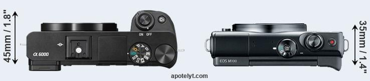 A6000 versus M100 top view