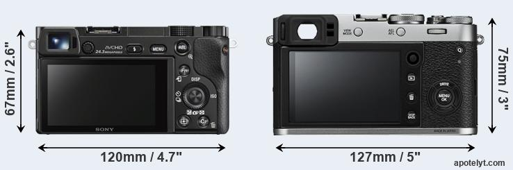 A6000 and X100F rear side