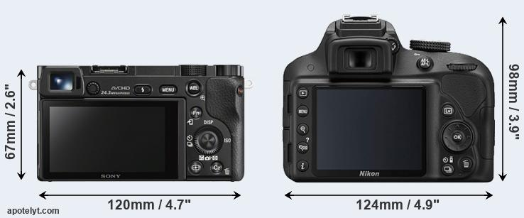A6000 and D3300 rear side
