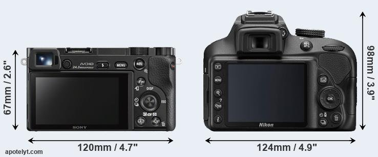 A6000 and D3400 rear side