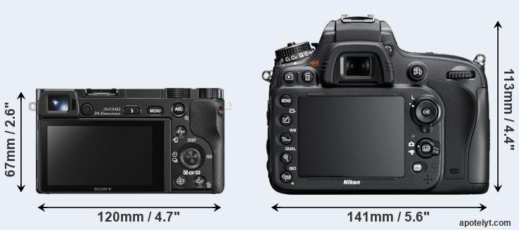 A6000 and D600 rear side