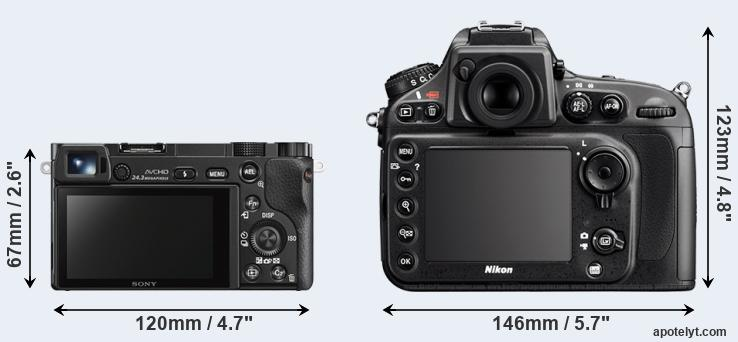 A6000 and D800 rear side