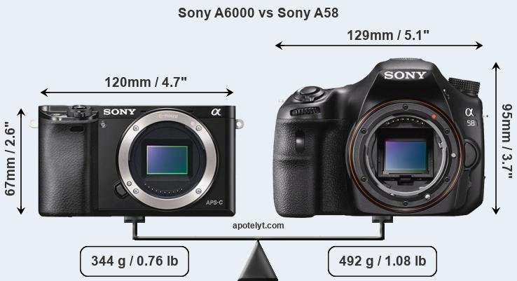 Compare Sony A6000 vs Sony A58