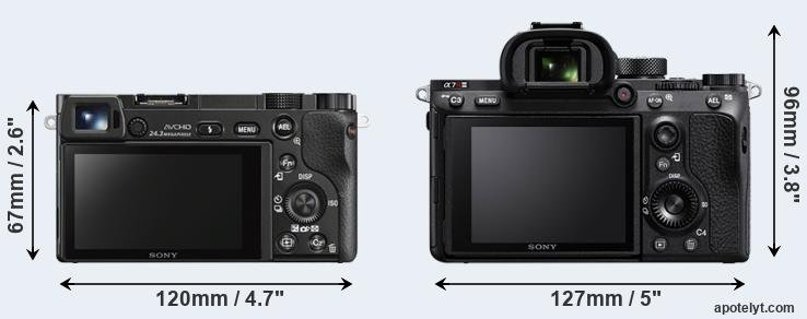 A6000 and A7R III rear side