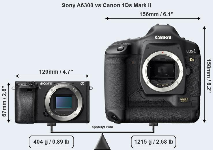 Size Sony A6300 vs Canon 1Ds Mark II