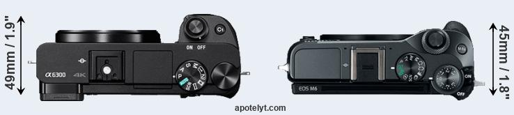 A6300 versus EOS M6 top view