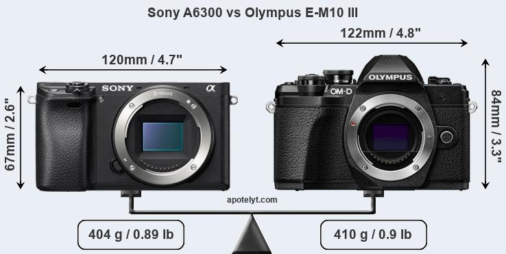 Sony A6300 and Olympus E-M10 III sensor measures