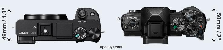 A6300 versus E-M10 III top view