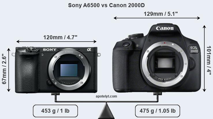 Compare Sony A6500 and Canon 2000D
