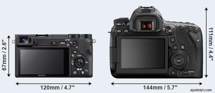 A6500 and 6D Mark II rear side