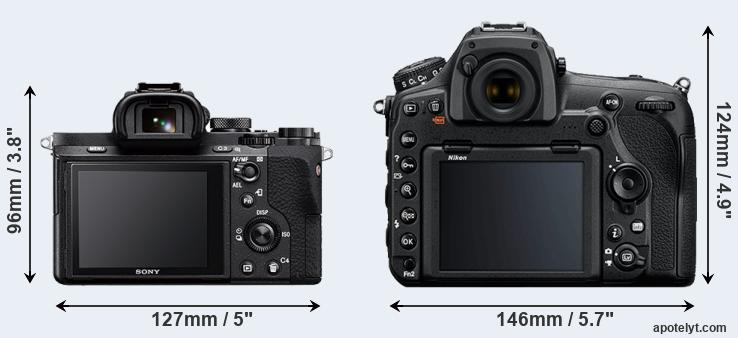 A7 II and D850 rear side