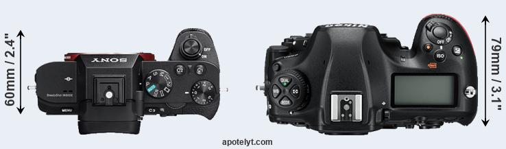 A7 II versus D850 top view